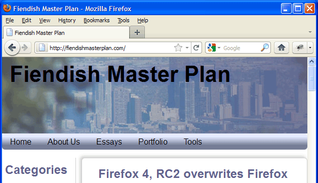 Screenshot of weird Firefox 4/Firefox 3.6 combination
